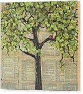 Cardinals In A Tree Wood Print by Blenda Studio