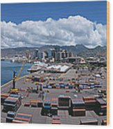 Cargo Containers At A Harbor, Honolulu Wood Print