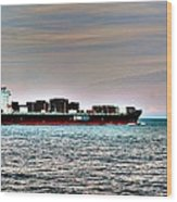 Cargo Ship Near Chesapeake Bay Bridge Tunnel Wood Print