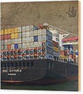 Cargo Vessel Wood Print