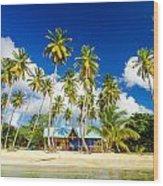 Caribbean Beach Shack Wood Print