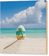 Caribbean Easter Egg Wood Print