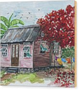 Caribbean House Wood Print