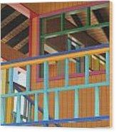 Caribbean Railings Wood Print