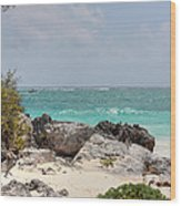 Caribbean Sea And Beach At Tulum Wood Print