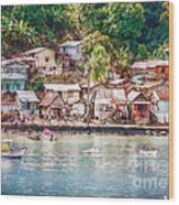 Caribbean Village Wood Print