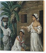 Caribbean Women In Front Of A Hut Wood Print