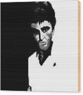 Caricature Of Scarface Wood Print