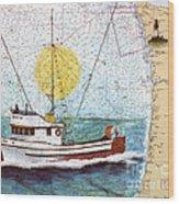 Carina Trawl Fishing Boat Nautical Chart Map Art Wood Print