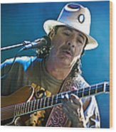 Carlos Santana On Guitar 3 Wood Print by Jennifer Rondinelli Reilly - Fine Art Photography
