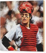 Fisk  Carlton Fisk Wood Print by Iconic Images Art Gallery David Pucciarelli