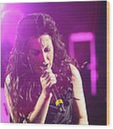 Carly On Stage Wood Print