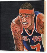 Carmelo Anthony - New York Knicks Wood Print by Michael  Pattison