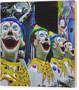 Carnival Clowns Wood Print by Kaye Menner