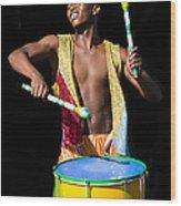 Carnival Drummer Wood Print