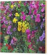Carnival Flowers Wood Print