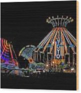 Carnival Rides At Night 04 Wood Print