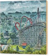 Carnival - The Thrill Ride Wood Print by Mike Savad