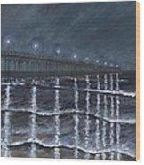 Carolina Beach Pier By Night Wood Print
