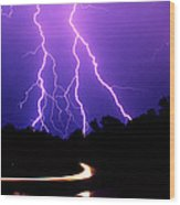 Carolina Electrical Storm Wood Print