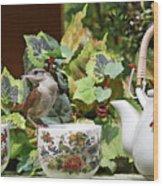 Carolina Wren And Tea Cups Wood Print