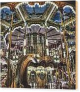 Carousel At Hotel Deville Wood Print