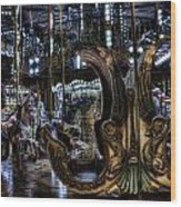 Carousel At Night Wood Print