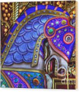 Carousel Beauty Blue Charger Wood Print