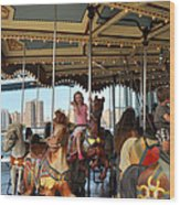 Carousel Brooklyn Bridge Park Wood Print