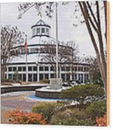 Carousel Building In Snow Wood Print by Tom and Pat Cory