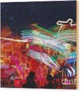 Carousel By Night Wood Print