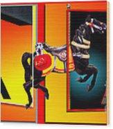 Carousel Horse Fireman 04 In Teal Wood Print