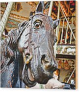 Carousel Horse Head Wood Print