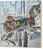 Carousel Horse In Negative Colors Wood Print