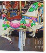 Carousel Horse With Flower Drape Wood Print