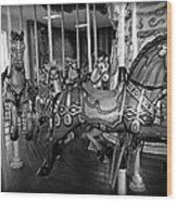 Carousel Horses In Black And White Wood Print