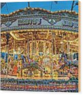 Carousel In Bournemouth Wood Print