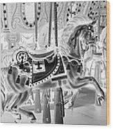 Carousel In Negative 3 Wood Print