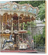 Carousel In Paris Wood Print