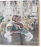 Carousel Merry Go Round Horses - Dreamy Baby Blue Carousel Horses Carnival Ride And American Flag Wood Print