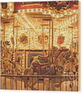 Carousel Night Lights Wood Print