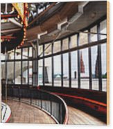 Carousel Over Albany Wood Print