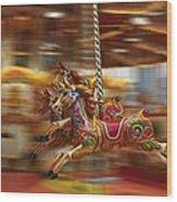 Carousel Wood Print by Peter Skelton