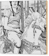 Carousel Rider Wood Print