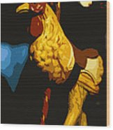Carousel Rooster Wood Print