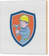 Carpenter Builder Hammer Shield Cartoon Wood Print