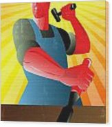 Carpenter Striking Hammer Chisel Poster Retro Wood Print