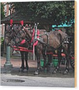 Carriage Horses At City Market Wood Print by Linda Ryan