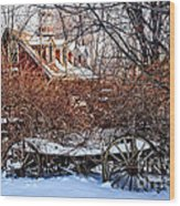 Carriage House In Snow Wood Print