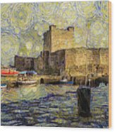 Starry Carrickfergus Castle Wood Print